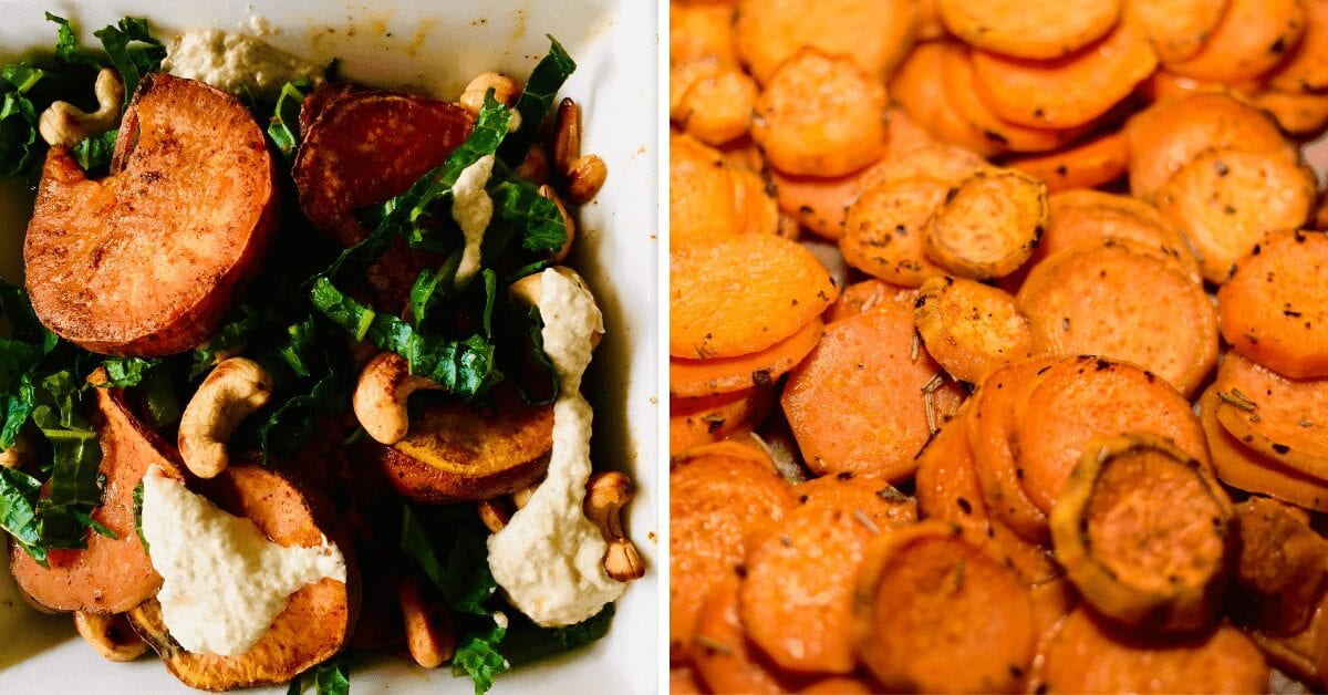 Tantalizing Roast Sweet Potato and Kale Salad With Sesame Lemon Dressing